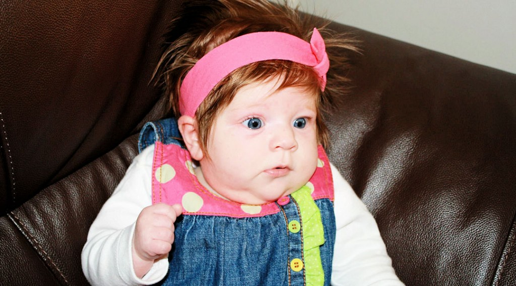 Pink baby girl headband bow